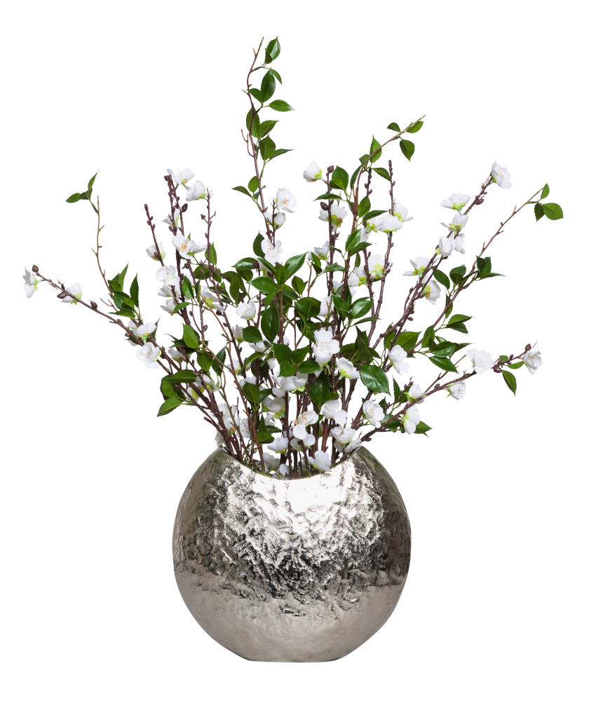 WHITE PLUM BLOSSOM IN SILVER VASE