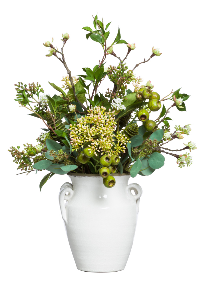 EUCALYPTUS/SEEDUM IN SMALL BEIGE URN
