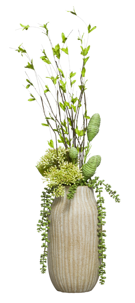 MIXED DOGWOOD/SEEDUM IN WOOD VASE