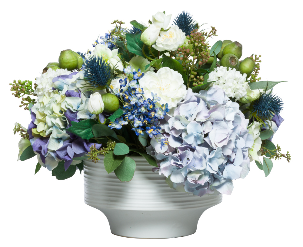MIXED FLOWERS IN WHITE RIBBED BOWL