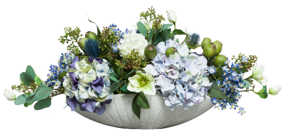 MIXED FLOWERS IN WHITE OVAL