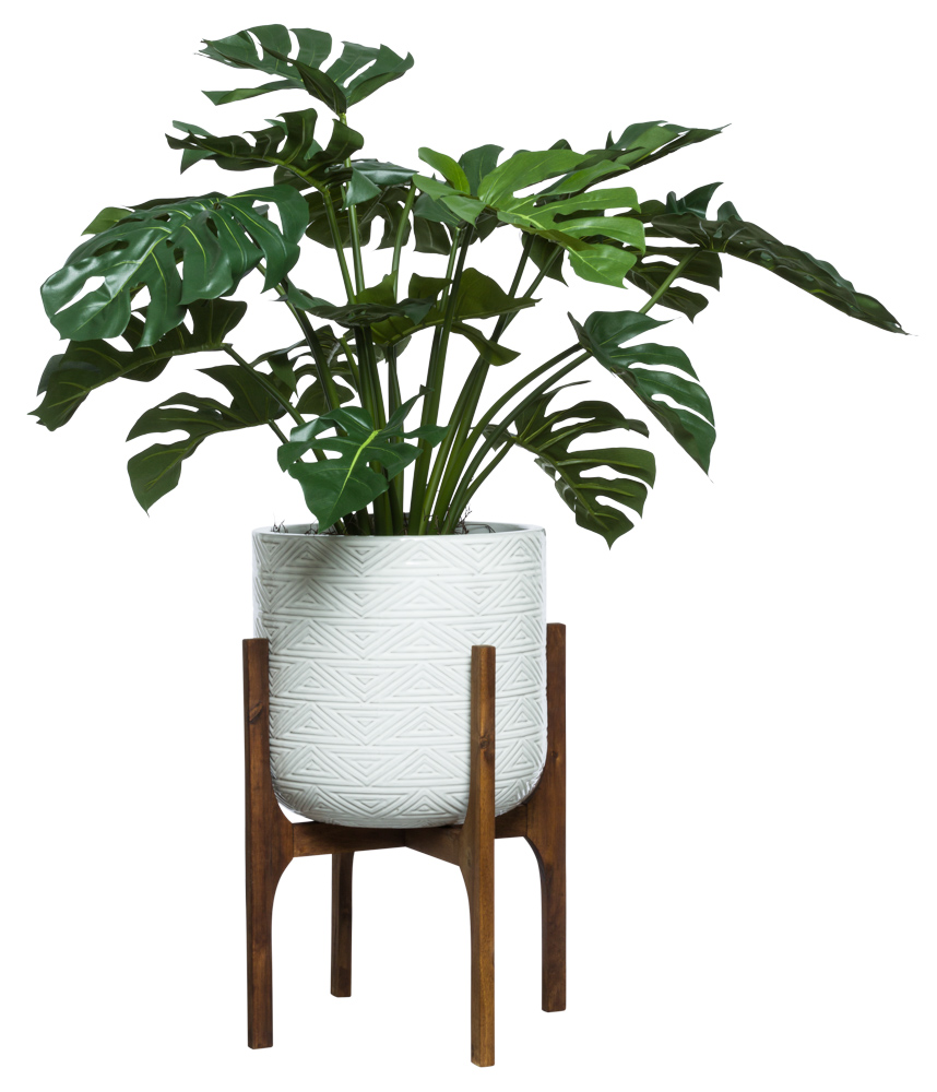 SPLIT PHILO IN WHITE TEXTURED PLANT STAND