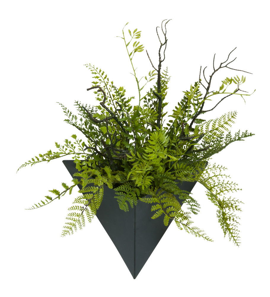 MIXED FERN/BRANCH IN SMALL BLACK WALL SCONCE