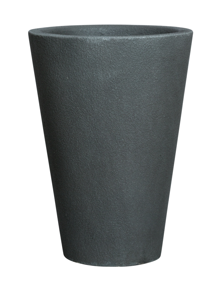 SHORT ROUND DARK GREYSTONE POT