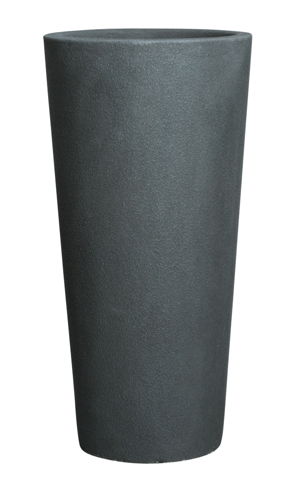 TALL ROUND DARK GREYSTONE POT