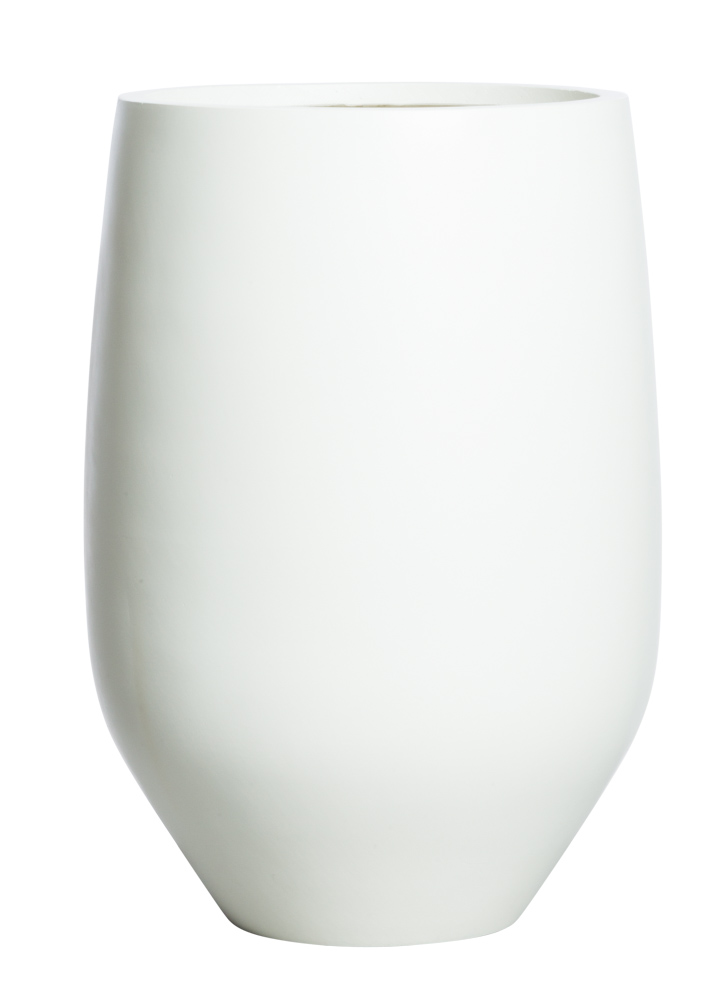 SMALL TALL SANDSTONE ROUND WHITE POT