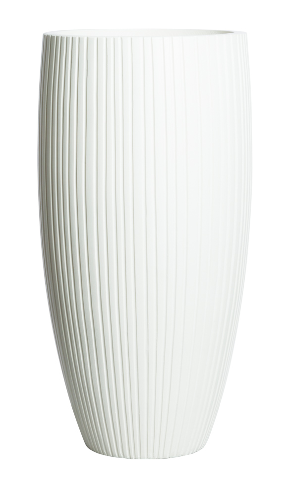 SMALL TALL SANDSTONE WHITE RIBBED POT