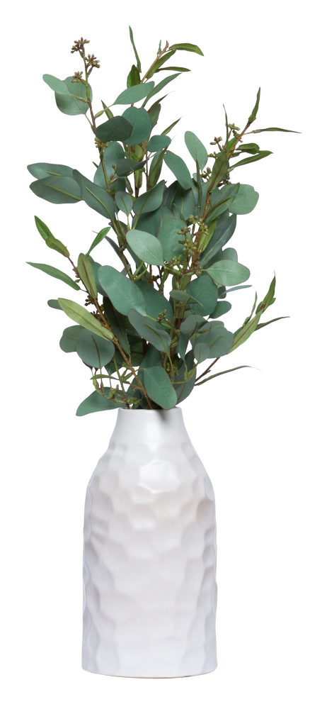 OLIVE BRANCH IN WHITE BOTTLE VASE