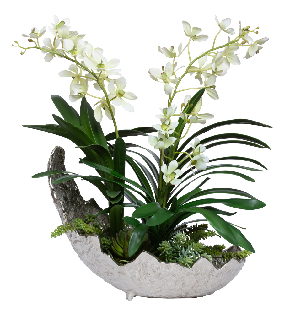 VANDA/SUCCULENT IN LARGE SILVER LEAF BOWL
