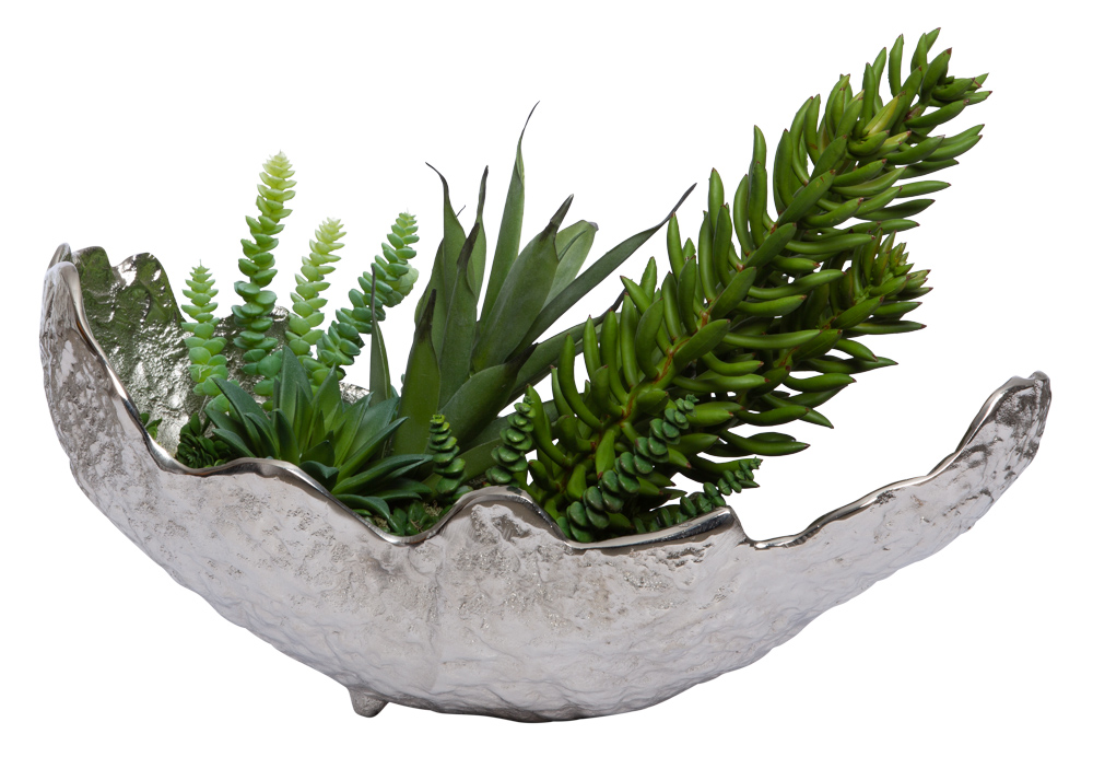 ASSORTED SUCCULENT IN LARGE SILVER LEAF BOWL