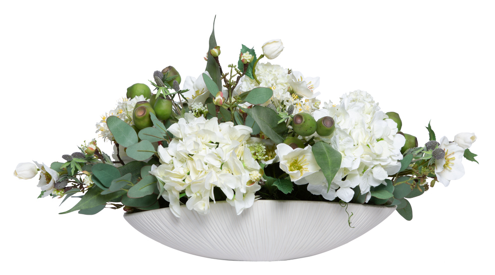 ASSORTED FLOWERS IN WHITE OVAL BOWL