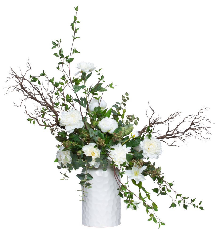ASSORTED FLOWERS/GREENERY IN TALL WHITE POT