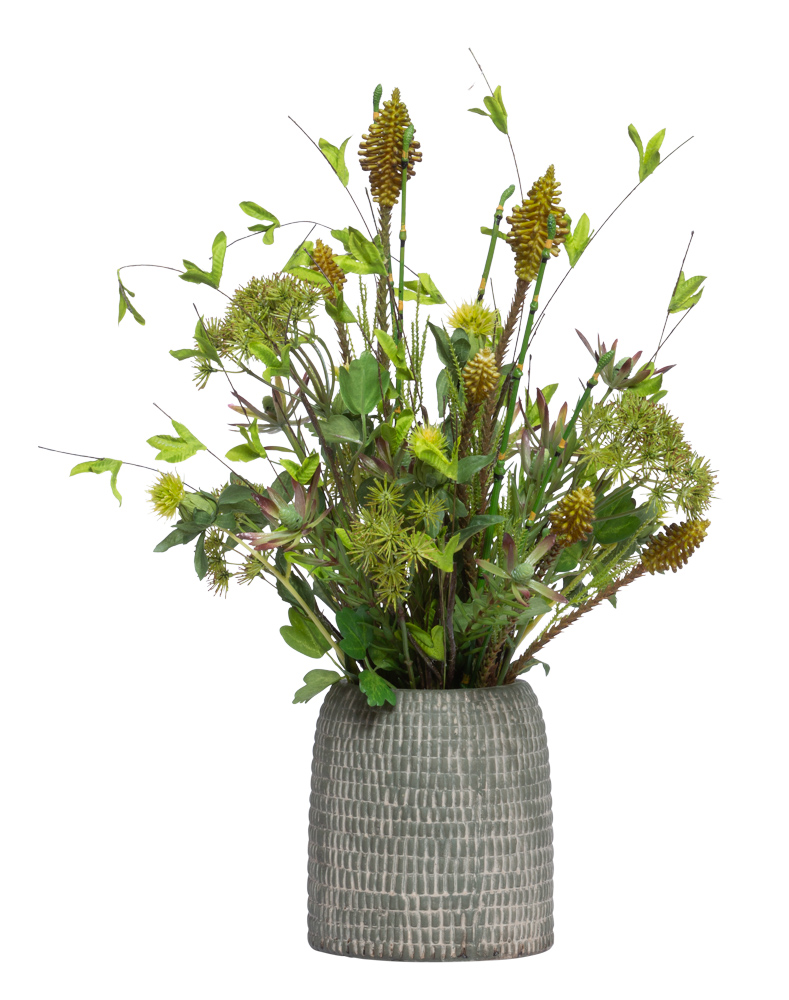 ASST GREENS IN SHORT BROWN VASE