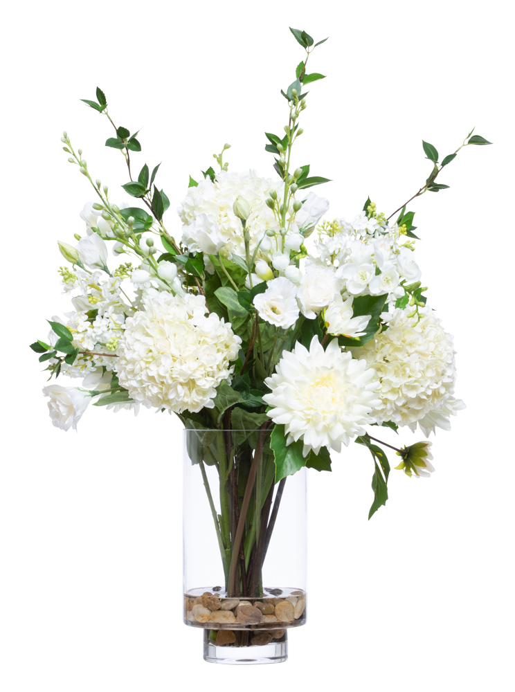 ASST WHITE FLOWERS IN TALL VASE WATER LIKE
