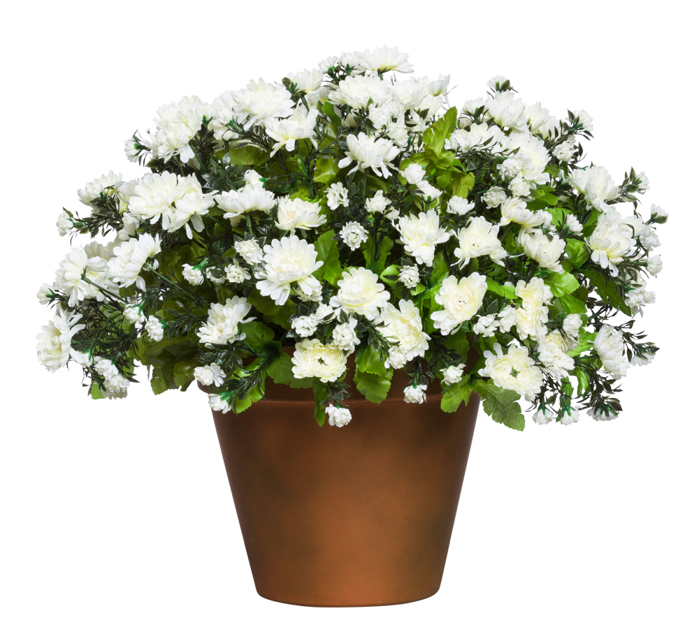 WHITE MUM POT/MEDIUM