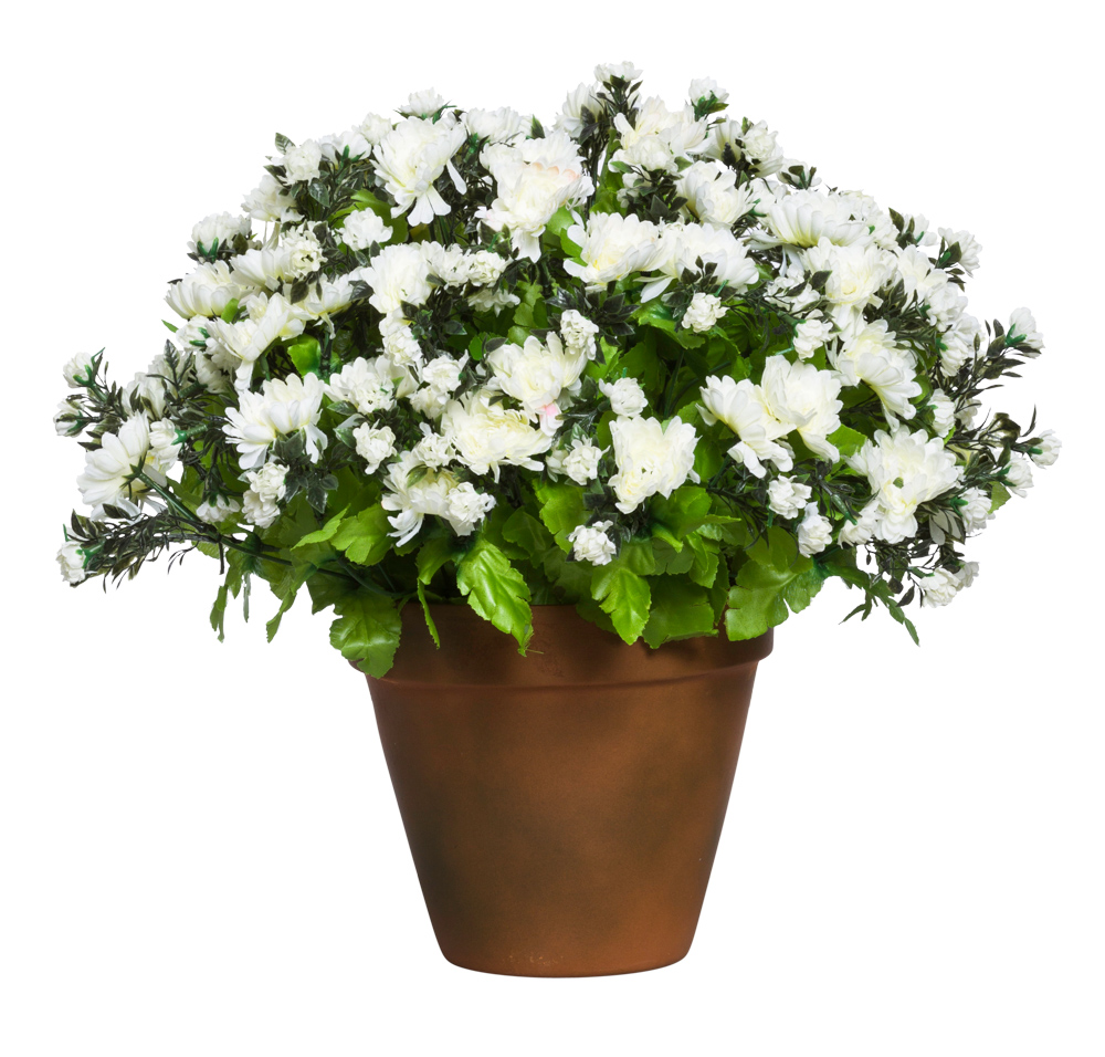 WHITE MUM POT/SMALL