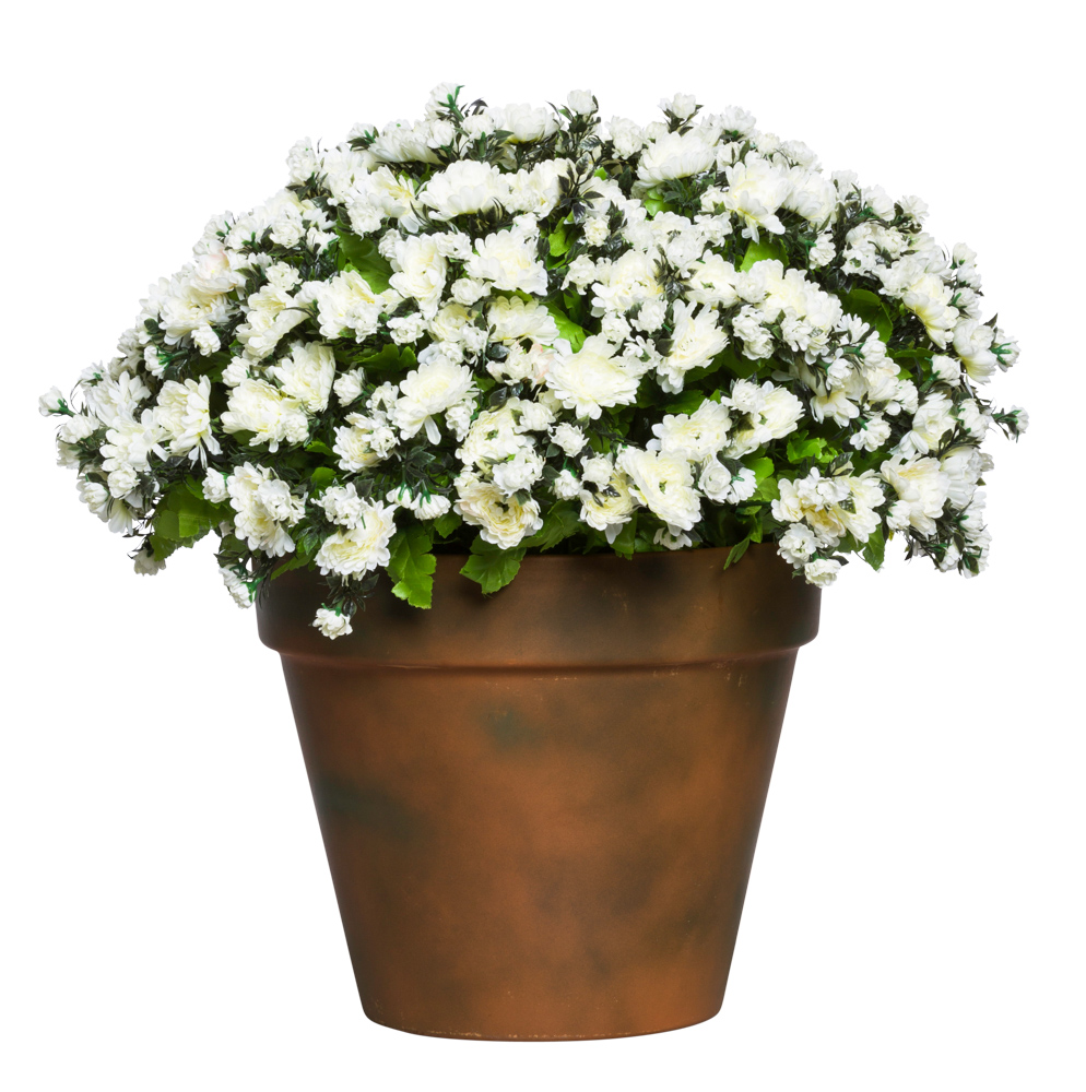 WHITE MUM POT/LARGE