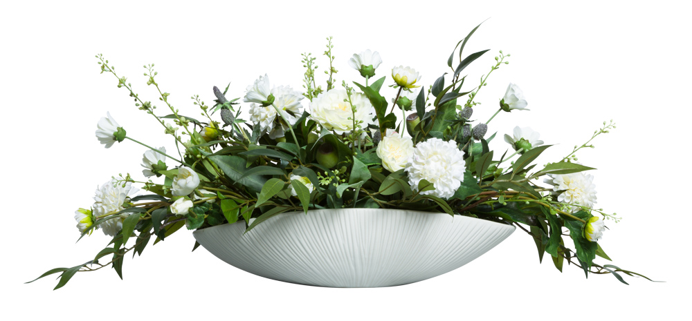 ASST WHITE FLOWERS IN  LARGE WHITE OVAL