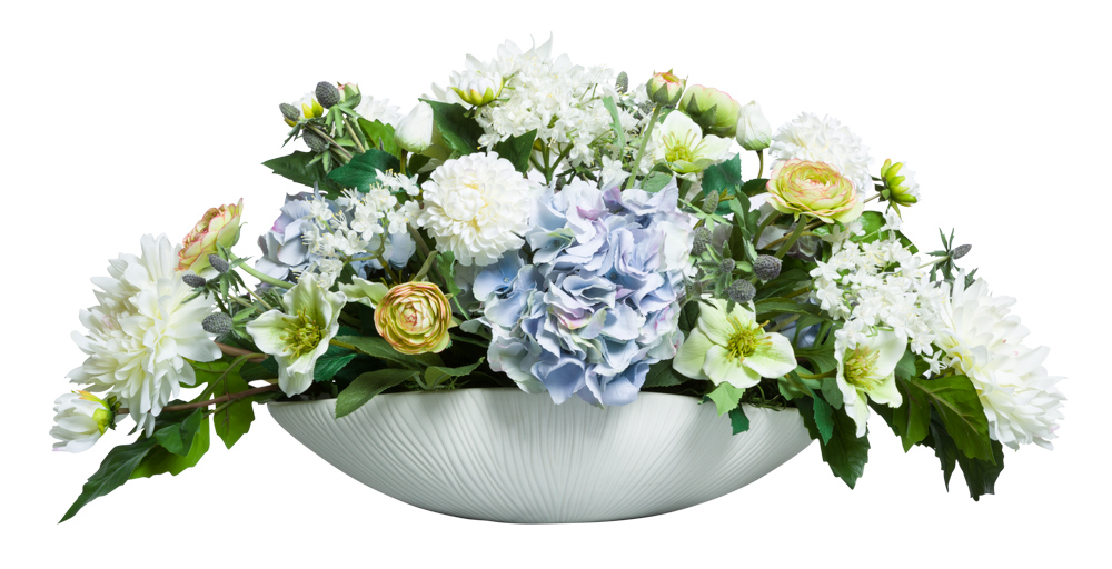 ASST FLOWERS IN WHITE OVAL POT
